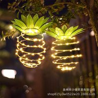 LED solar pineapple light wrought iron fruit shape decorative outdoor lamp for patio garden lawn lantern copper wire pineapple string light 1-Piece Set