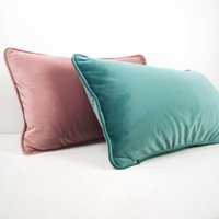 Cushion Decorative Pillow Piping Design Flesh Pink Blue Thickened Velvet Cushion Cover Sofa Bed Case No Balling-up Home Decor Without Stuffi