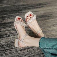 Sandals High Heel Sandal For Women Clear Shoes 2021 Summer Buckle Strap Espadrilles Platform Suit Female Beige Med All-Match High-heeled