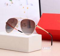 Soleil Square Designer Hommes Femmes Vintage Shades Conduite de lunettes de soleil polarisées Lunettes de soleil Mâle Mode Métal Plank Sunglass Eyewear 2106