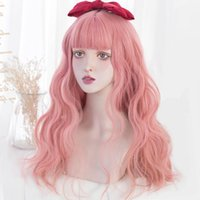 Синтетические парики Houyan длинные волнистые вьющиеся волосы парики волосы челки женщины розовая синяя черная высокотемпературная шелковая вечеринка