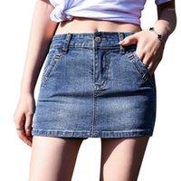 تنورة الجينز النسائية النسخة الكورية من الربيع / الصيف 2021 الدنيم تنورة شخصية رفيعة مع اثنين من التنانير متعدد الاستخدامات بنسبة 2