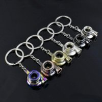 Metal Turbo Keychain Sleeve Bearing Spinning Auto Part Model Turbine Turbocharger Key Chain Ring Keyfob Keyring