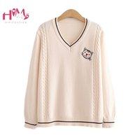 Suéteres de mujer Himifashion coreano lindo con cuello en v suéter mujer invierno harajuku kawaii gato jumper vintage escuela punto suéterado wh