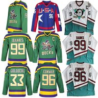 Mighty Ducks Jersey 66 Gordon Bombay 96 Charlie Conway 99 Adam Banks Jersey Hockey The Mighty Ducks Mens Jersey Blanc Green