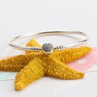 2021 Factory wholesale 925 Sterling Silver bracelet Bangle with LOGO Engraved for PB0009 European Charms and Girlfriend DIY Jewelry Making