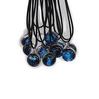 Brilho luminoso no escuro 12 Signs do zodíaco colar constelação cadeias de clavícula encantos de pedra pingente festa jóias presente Colares de cristal com corda preta G727QGG