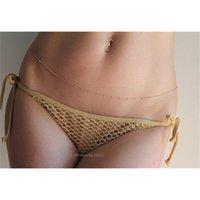 Cadena de vientre de la cadena de la cintura de estilo occidental erógena 14kgf oro lleno de oro 925 plata hecho a mano chatelaine simple estilo cuerpo joyería nueva T200508