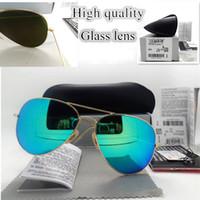 Роскошные дизайнерские солнцезащитные очки Большое размера Стеклянная линза Мода Мужчины Женщины Покрытие UV400 Старинные Политра Солнцезащитные Очки с коробкой и наклейкой