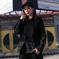 Women's Hoodies & Sweatshirts Autumn Cotton Woman 2021 Long Sleeve Sweatshirt For Women Hoodie Plaid Stitching Loose Tops