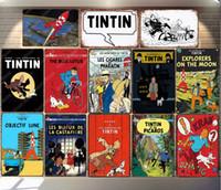 2021 Rétro aventures de Tintin Film dessin animé vintage panneaux d'étain métal mur arts Affiche Pub Café Décor Vintage bar Décoration Kid cadeau