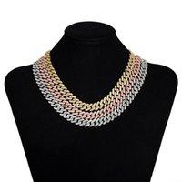 Chains INS12mm Diamond-shaped Cuban Chain Fashion Men's And Women's Necklaces Super Flash Full Diamond Hiphop Necklace Bracelet Set