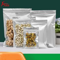 Pure Aluminum Foil and Clear Zip Lock Dry Flower Packaging Bags Flat Bottom Geocery Packing Pouches for Coffee Tea