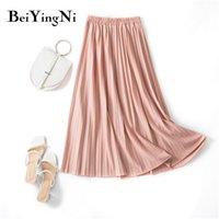 Beiyingni plissado midi saia elástica cintura alta doce verão casual slim longa saias da mulher preppy maxi preto saia jupe 210306