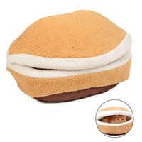 Cat Beds & Furniture Soft Cute Hamburger Bed Kitty Puppy Pet Nest Shell Cover House Removable Windproof Winter Warm