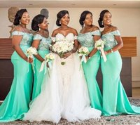 Glitter Sequined 2021 Green Satin African Bridesmaid Dresses Off Shoulder Sexy Mermaid Wedding Guest Prom Gowns Maid Of Honor Dress