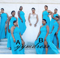 Turquoise Bridesmaid Dresses African 2019 Maid Of The Bride Evening Gowns Formal Occasion Wear Plus Size Split Chiffon Lace Mixed Orders