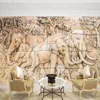 Tapeten Kundenspezifische Relief Elefant-Familienmütze Wandbild Tapete Wallpaper für Wohnzimmer Sofa Hintergrund 3D Großaufnahme