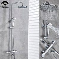 Torneira do chuveiro do chuveiro do chuveiro termostático do cromo de Shinesia com torneira do chuveiro da chuva da montagem da parede com misturador frio quente do bico da cuba