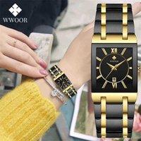 Wwoor damen top marke japanische quarz es quadrat schwarz gold uhr edelstahl wasserdichte mode frauen armbanduhr