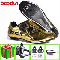 Boodun ألياف الكربون الطريق الدراجات أحذية جديدة خفيفة قفل الذاتي المؤيد دراجة الحذاء تنفس دراجة سباق الرجال أحذية رياضية