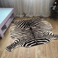 Muzzi Zebra Tapis imprimé PV Velvet imitation Tapis en cuir Skins d'animaux Forme Naturelle Tapis De Décoration Faux Fourrure Mats130x180 210301