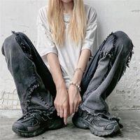 Women's Jeans 2021 Autumn High Waist Loose Casual Thin Wide-leg Pants Ins Street Retro Hip-hop Denim Trendy M-5XL