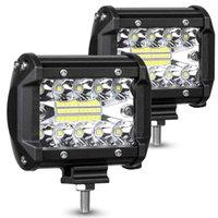 2x LED pods ljusstång 4 tum 120W 12800LM kördimma av väglampor Triple rad Vattentät Spot Flood Combo Beam Led Cubes Lights för pickup truck Jeep ATV UTV SUV båt