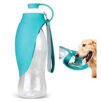 Alimentatori di ciotole per cani 580ml Bottiglia di acqua per animali domestici portatile Bottiglie di viaggio in silicone morbido per cucciolo bevuto Distributore esterno