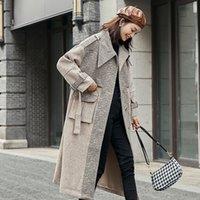 Tela de mujer Abrigos de lana sobre abrigo femenino pequeño mediano largo de otoño / invierno moda retro All-Match Hepburn Style
