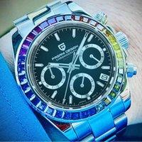 2021 Pagani Tasarım Chronograph Spor Saatler Erkek Lüks Marka Kuvars Su Geçirmez 100 M İzle Relogio Masculino + Kutu PD-1644