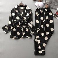 Bras Sets Silk Pajamas Set Women Sexy Print Dot Summer Female Pyjamas Long Shirt 2Piece Set Stitch Lingerie 2021 Home Sleepwear