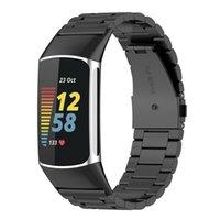 Klassieke roestvrijstalen bandjes metalen drie bead slingshot gesp horlogeband voor Fitbit Charge 5 charge5