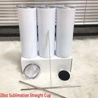 Schnelle Lieferung 20z DIY Sublimation Gerade dünne Tumbler mit Metallstrohkautschukuntersetzer und Strohbürste Dovel Wall Thermos Cup