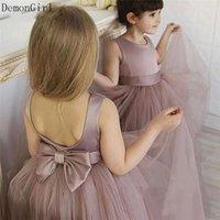 Girl's Dresses Dusty Pink Flower Girl Girl per matrimonio Pieghettato Top A-Line Bambini Bambini Vestito da celebrità Compleanno Party Gown Size 1-14YY