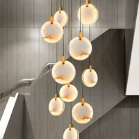 Modern Staircase Long Chandelier Luxury Villa Marble Crystal Hanging Lamp Living Room Decoration Stone Led Light Fixtures