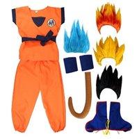 Conjuntos de roupas Kids Boys filho Goku Cosplay Trajes Carnaval Anime Top / Pant / Belail / Wrister / Peruca para Adulto
