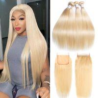 Human Hair Bulks Virgo 613 Brazilian Straight Bundles With Frontal Closure Honey Blonde