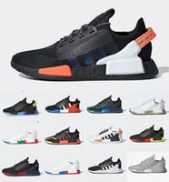 Dazzle Camo NMD R1 V2 Mens Human Race Running Shoes 코어 블랙 화이트 멕시코 시티 오레오 OG 클래식 아쿠아 톤 남성 여성 일본 스포츠 스니커즈