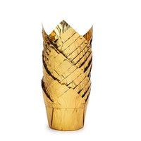 100ピースアルミホイルベーキングカップ、マフィンカップ、使い捨てチューリップスタイルケーキカップ、ベーキングカップアルミカップケーキラメキスキンホルダー28 V2