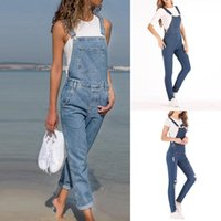 Women's Jumpsuits & Rompers Fashion Women Ladies Baggy Denim Jeans Bib Full Length Pinafore Dungaree Overall Solid Loose Causal Jumpsuit Pan