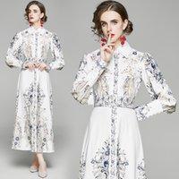 2021 Otoño Vestidos casuales Cuello de polo europeo y americano Vestido de impresión largo de largo Temperamento de la manga larga A-Line Falda Cintura Closing Slim Women's Longs Faldas