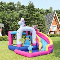 Supplie de jardim Inflável Bounce Bounce Casa Bouncer Castelo de água Slide com soprador unicórnios tema bouncy combo w / piscina bola molhada ou seca slides