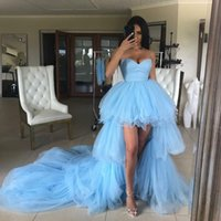 Sweet Light Blue Party Dress Sexy Sweetheart Backless High-low-Style Long Train Prom Dresses Custom Made