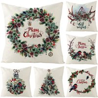 Nordic Linen Pillow Case Home Decoration Merry Christmas Pillow Cover Square Sofa Cushion Case Happy New Year Cushion Cover 45x45cm