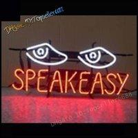 Speakeasy Olhos Dupla Cor Led Neon Sinal Branco Laranja 17x14 Polegada, Handmade Real Tubo De Vidro