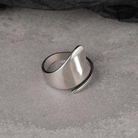 Silvologie 925 Sterling Sterling Silver Anneaux irréguliers pour femmes Double couche Déclaration Minimaliste Anneaux minimalistes Dame 2021 Mode Bijoux