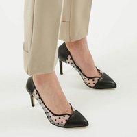 드레스 신발 미오 Gusto 브랜드 PIA, 블랙 / 화이트 / 탄, 8cm 힐 높이, 고품질 패션 여성 펌프