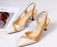 Women's sandals 2020 summer new stiletto pointed toe fashion trend two-color stitching high heels
