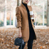 Womens wol formele mix jas vrouwen stijl lange solide bovenkleding warme herfst winter wollen overjas fleece dame trenchcoat 4 #